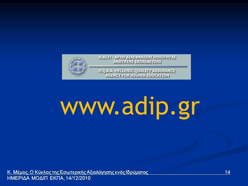 www.adip.gr Κ. Μέμος, Ο Κύκλος της Εσωτερικής Αξιολόγησης ενός Ιδρύματος 14 ΗΜΕΡΙΔΑ ΜΟΔΙΠ ΕΚΠΑ, 14/12/2010