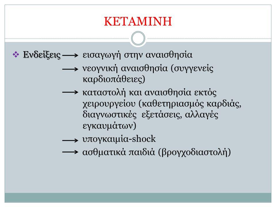 ΚΕΤΑΜΙΝΗ Ενδείξεις  Ενδείξεις εισαγωγή στην αναισθησία νεογνική αναισθησία (συγγενείς καρδιοπάθειες) καταστολή και αναισθησία εκτός χειρουργείου (καθ