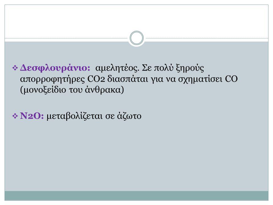  Δεσφλουράνιο: αμελητέος. Σε πολύ ξηρούς απορροφητήρες CO2 διασπάται για να σχηματίσει CO (μονοξείδιο του άνθρακα)  Ν2Ο: μεταβολίζεται σε άζωτο