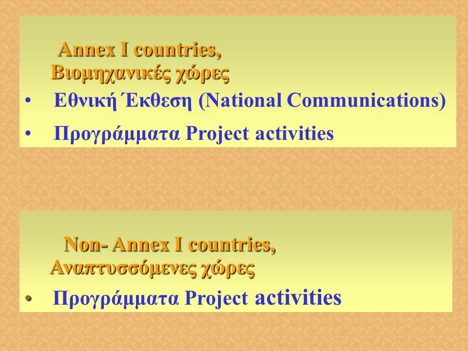 Annex I countries, Annex I countries, Βιομηχανικές χώρες Βιομηχανικές χώρες •Εθνική Έκθεση (National Communications) •Προγράμματα Project activities N