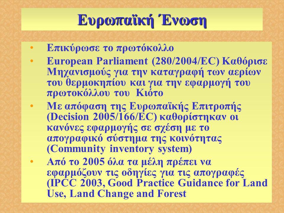 Ευρω π αϊκή Ένωση •Επικύρωσε το πρωτόκολλο •European Parliament (280/2004/EC) Καθόρισε Μηχανισμούς για την καταγραφή των αερίων του θερμοκηπίου και γι