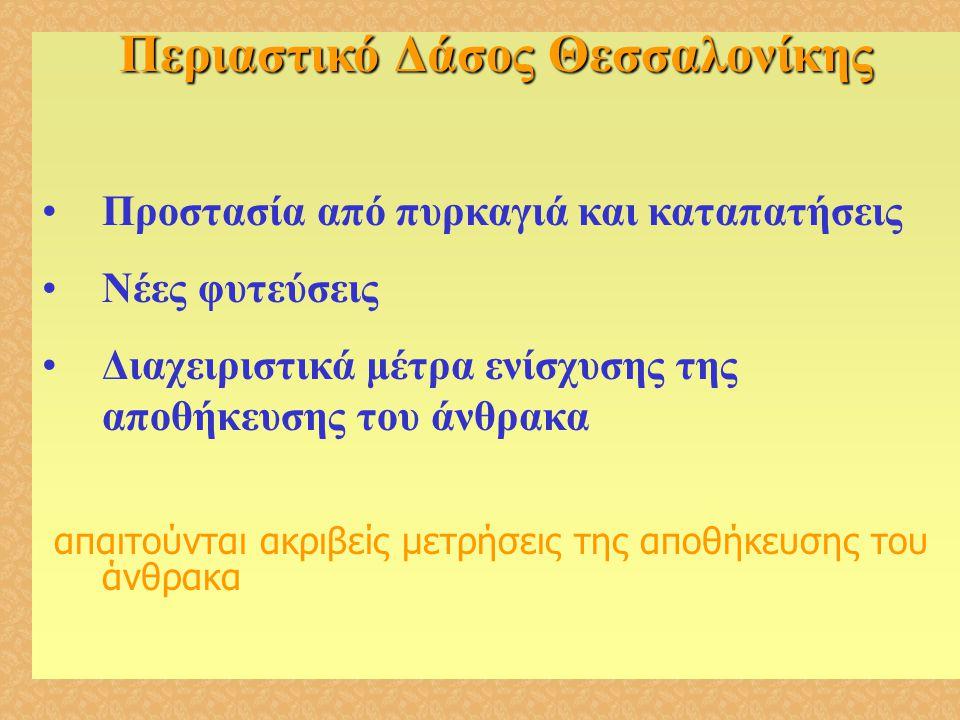 Περιαστικό Δάσος Θεσσαλονίκης •Προστασία από πυρκαγιά και καταπατήσεις •Νέες φυτεύσεις •Διαχειριστικά μέτρα ενίσχυσης της αποθήκευσης του άνθρακα απαι
