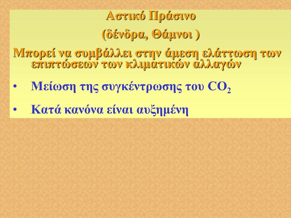 Αστικό Πράσινο (δένδρα, Θάμνοι ) Μπορεί να συμβάλλει στην άμεση ελάττωση των επιπτώσεων των κλιματικών αλλαγών •Μείωση της συγκέντρωσης του CO 2 •Κατά