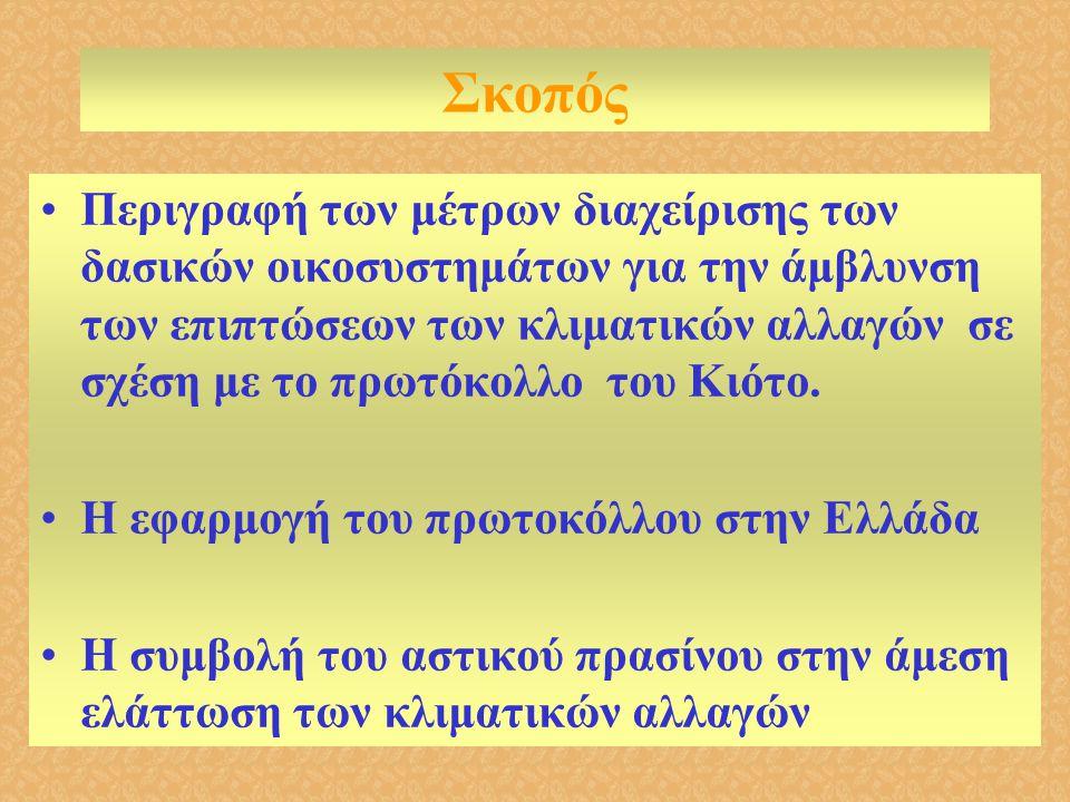 Στην Ελλάδα •Υπάρχει μια δασική απογραφή (άρχισε 1963 και τελείωσε 1992) •Δεν υπάρχει απογραφή LULUCF •Δεν ξέρουμε την έκταση των δασών και της δασικής γης •Υπάρχει μεγάλη ποικιλομορφία οικοσυστημάτων