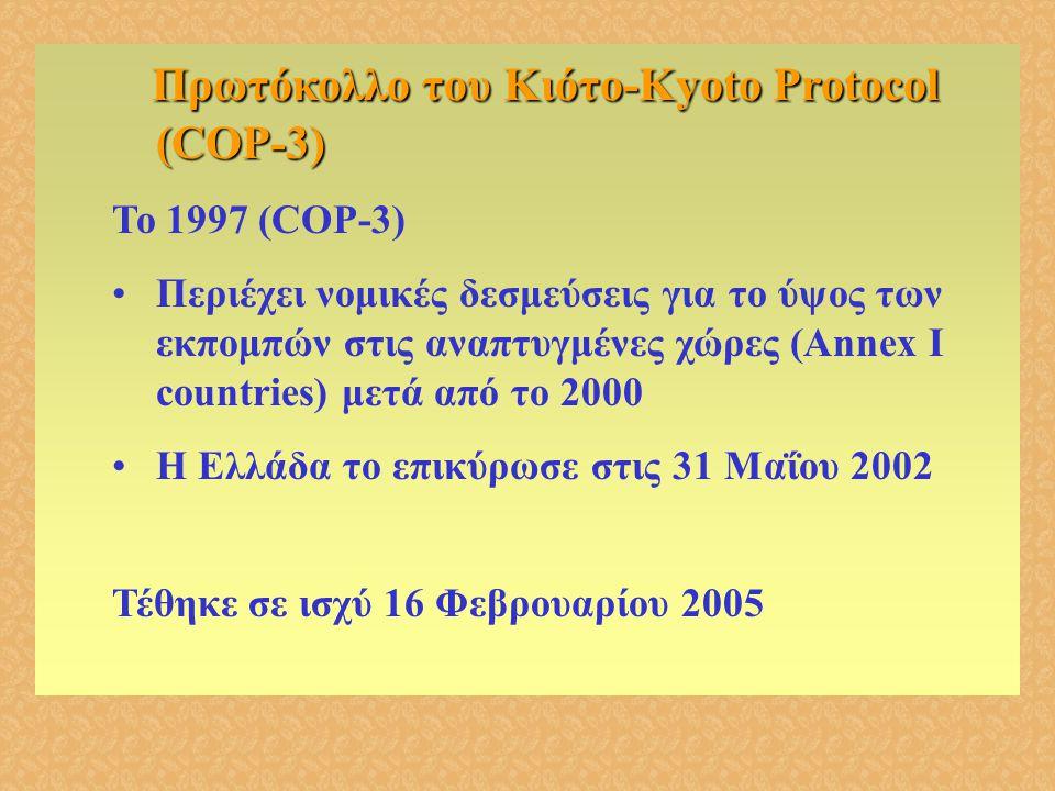 Πρωτόκολλο του Κιότο-Kyoto Protocol (COP-3) Πρωτόκολλο του Κιότο-Kyoto Protocol (COP-3) Το 1997 (COP-3) •Περιέχει νομικές δεσμεύσεις για το ύψος των ε