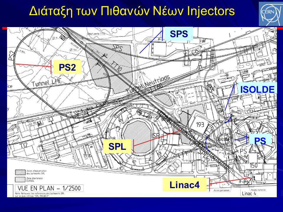 Διάταξη των Πιθανών Νέων Injectors SPS PS2 SPL Linac4 PS ISOLDE
