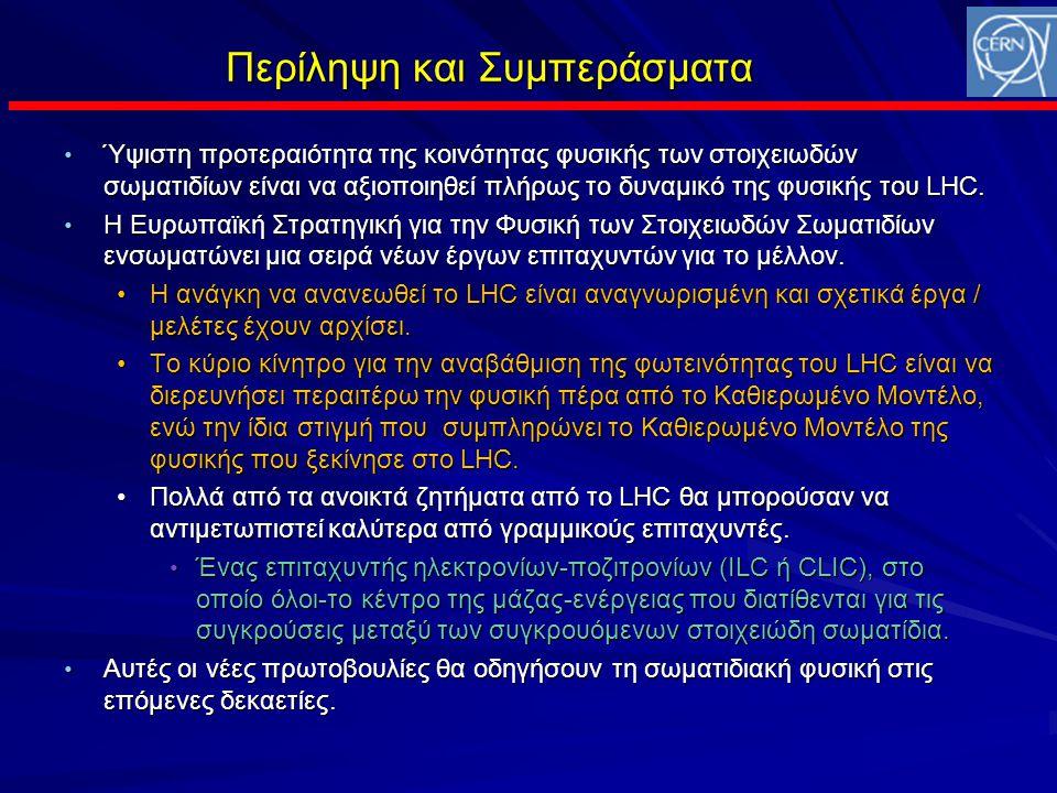 Περίληψη και Συμπεράσματα • Ύψιστη προτεραιότητα της κοινότητας φυσικής των στοιχειωδών σωματιδίων είναι να αξιοποιηθεί πλήρως το δυναμικό της φυσικής του LHC.