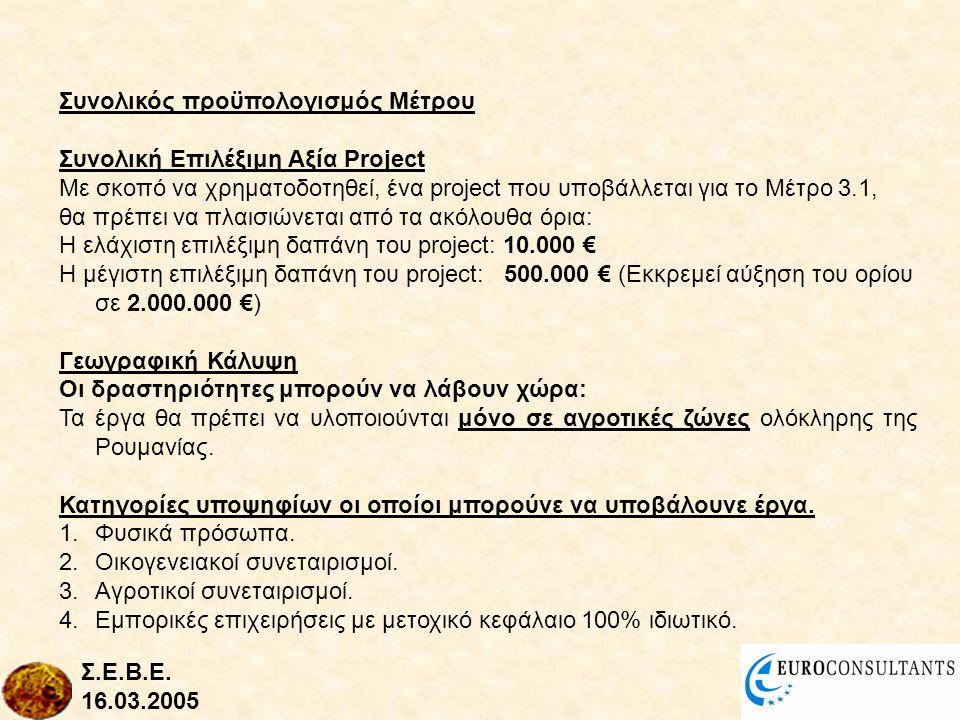 Συνολικός προϋπολογισμός Μέτρου Συνολική Επιλέξιμη Αξία Project Με σκοπό να χρηματοδοτηθεί, ένα project που υποβάλλεται για το Μέτρο 3.1, θα πρέπει να πλαισιώνεται από τα ακόλουθα όρια: Η ελάχιστη επιλέξιμη δαπάνη του project: 10.000 € Η μέγιστη επιλέξιμη δαπάνη του project: 500.000 € (Εκκρεμεί αύξηση του ορίου σε 2.000.000 €) Γεωγραφική Κάλυψη Οι δραστηριότητες μπορούν να λάβουν χώρα: Τα έργα θα πρέπει να υλοποιούνται μόνο σε αγροτικές ζώνες ολόκληρης της Ρουμανίας.