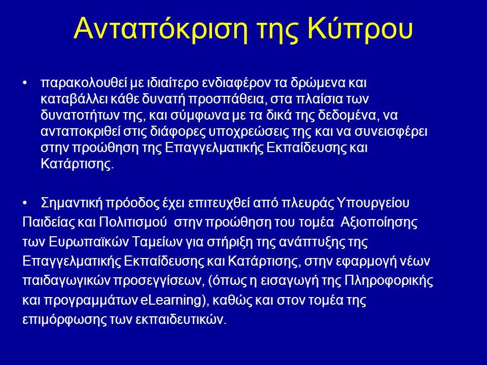 Ανταπόκριση της Κύπρου •παρακολουθεί με ιδιαίτερο ενδιαφέρον τα δρώμενα και καταβάλλει κάθε δυνατή προσπάθεια, στα πλαίσια των δυνατοτήτων της, και σύ