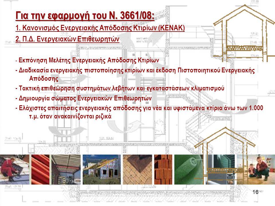 16 Για την εφαρμογή του Ν. 3661/08: 1. Κανονισμός Ενεργειακής Απόδοσης Κτιρίων (ΚΕΝΑΚ) 2. Π.Δ. Ενεργειακών Επιθεωρητών - Εκπόνηση Μελέτης Ενεργειακής