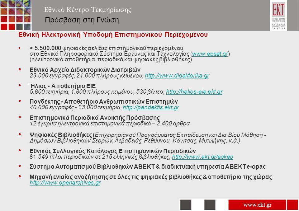 www.ekt.gr Πρόσβαση στη Γνώση Εθνική Ηλεκτρονική Υποδομή Επιστημονικού Περιεχομένου •> 5.500.000 ψηφιακές σελίδες επιστημονικού περιεχομένου στο Εθνικό Πληροφοριακό Σύστημα Έρευνας και Τεχνολογίας (www.epset.gr) (ηλεκτρονικά αποθετήρια, περιοδικά και ψηφιακές βιβλιοθήκες)www.epset.gr • Εθνικό Αρχείο Διδακτορικών Διατριβών 29.000 εγγραφές, 21.000 πλήρους κειμένου, http://www.didaktorika.grhttp://www.didaktorika.gr • Ήλιος - Αποθετήριο ΕΙΕ 5.800 τεκμήρια, 1.800 πλήρους κειμένου, 530 βίντεο, http://helios-eie.ekt.grhttp://helios-eie.ekt.gr • Πανδέκτης - Αποθετήριο Ανθρωπιστικών Επιστημών 40.000 εγγραφές - 23.000 τεκμήρια, http://pandektis.ekt.grhttp://pandektis.ekt.gr • Επιστημονικά Περιοδικά Ανοικτής Πρόσβασης 12 έγκριτα ηλεκτρονικά επιστημονικά περιοδικά – 2.400 άρθρα • Ψηφιακές Βιβλιοθήκες (Επιχειρησιακού Προγράμματος Εκπαίδευση και Δια Βίου Μάθηση - Δημόσιων Βιβλιοθηκών Σερρών, Λεβαδειάς, Ρεθύμνου, Κόνιτσας, Μυτιλήνης, κ.ά.) • Εθνικός Συλλογικός Κατάλογος Επιστημονικών Περιοδικών 81.549 τίτλοι περιοδικών σε 215 ελληνικές βιβλιοθήκες, http://www.ekt.gr/eskephttp://www.ekt.gr/eskep • Σύστημα Αυτοματισμού Βιβλιοθηκών ΑΒΕΚΤ & διαδικτυακή υπηρεσία ΑΒΕΚΤ e-opac • Μηχανή ενιαίας αναζήτησης σε όλες τις ψηφιακές βιβλιοθήκες & αποθετήρια της χώρας http://www.openarchives.gr http://www.openarchives.gr