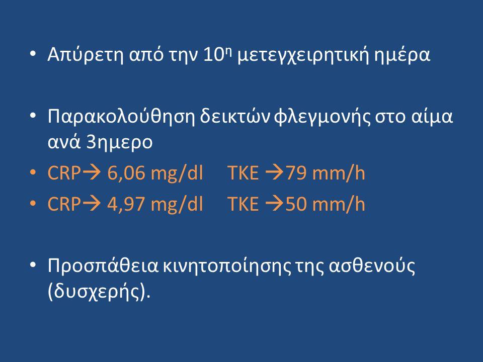 • Απύρετη από την 10 η μετεγχειρητική ημέρα • Παρακολούθηση δεικτών φλεγμονής στο αίμα ανά 3ημερο • CRP  6,06 mg/dl TKE  79 mm/h • CRP  4,97 mg/dl TKE  50 mm/h • Προσπάθεια κινητοποίησης της ασθενούς (δυσχερής).