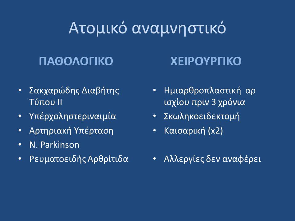 Ατομικό αναμνηστικό ΠΑΘΟΛΟΓΙΚΟ • Σακχαρώδης Διαβήτης Τύπου ΙΙ • Υπέρχοληστεριναιμία • Αρτηριακή Υπέρταση • Ν.