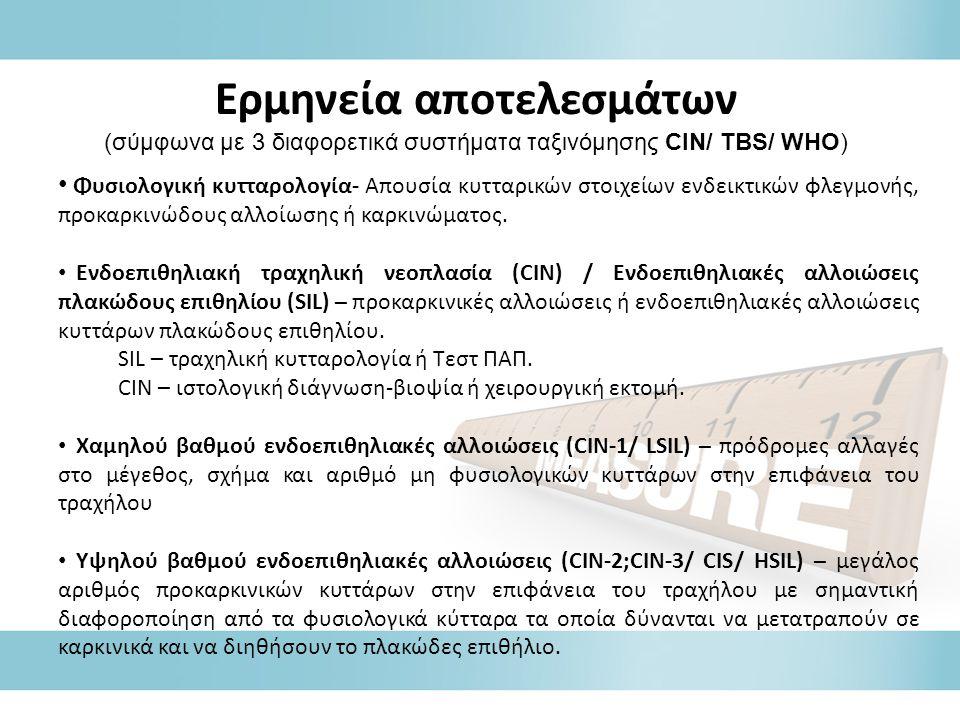 Ερμηνεία αποτελεσμάτων (σύμφωνα με 3 διαφορετικά συστήματα ταξινόμησης CIN/ TBS/ WHO) • Φυσιολογική κυτταρολογία- Απουσία κυτταρικών στοιχείων ενδεικτικών φλεγμονής, προκαρκινώδους αλλοίωσης ή καρκινώματος.