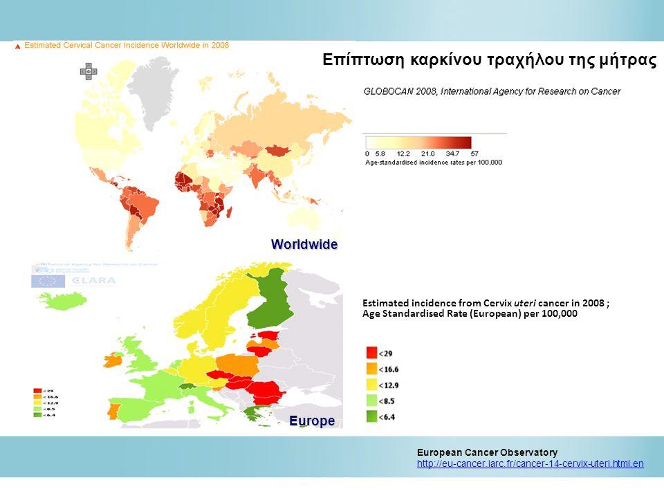 Estimated mortality from Cervix uteri cancer in 2008 ; Age Standardised Rate (European) per 100,000 European Cancer Observatory http://eu-cancer.iarc.fr/cancer-14-cervix-uteri.html,en Θνησιμότητα καρκίνου τραχήλου της μήτρας Worldwide Europe