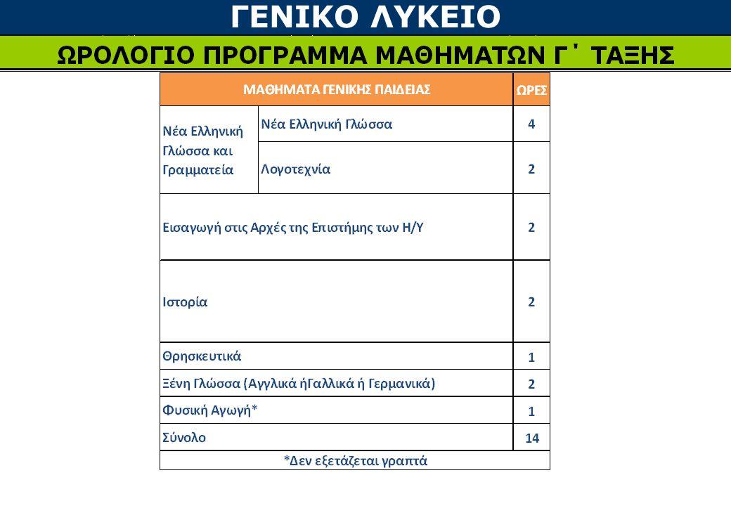 ΓΕΝΙΚΟ ΛΥΚΕΙΟ •Για την εισαγωγή στην Τριτοβάθμια Εκπαίδευση υπολογίζονται οι βαθμοί των 4 Πανελλαδικώς Εξεταζομένων μαθημάτων και ο Βαθμός Προαγωγής και Απόλυσης των 3 τάξεων του Λυκείου, πολλαπλασιαζόμενος με τους αντίστοιχους συντελεστές •Τα 3 γινόμενα προστίθενται και το άθροισμα διαιρείται δια 2 ΔΗΛΑΔΗ Α ΛυκείουΒ ΛυκείουΓ Λυκείου x 0,4x 0,7x 0,9 Βαθμός Προαγωγής Α Λυκείου x 0,4 Βαθμός Προαγωγής Β Λυκείου x 0,7 Βαθμός Απόλυσης Γ Λυκείου x 0,9 δια 2