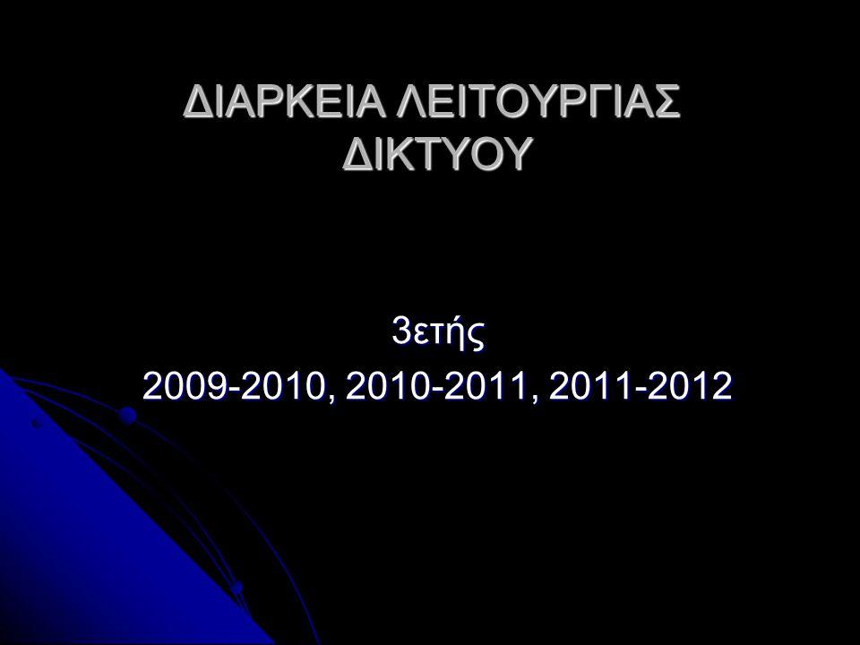 ΔΙΑΡΚΕΙΑ ΛΕΙΤΟΥΡΓΙΑΣ ΔΙΚΤΥΟΥ 3ετής 2009-2010, 2010-2011, 2011-2012