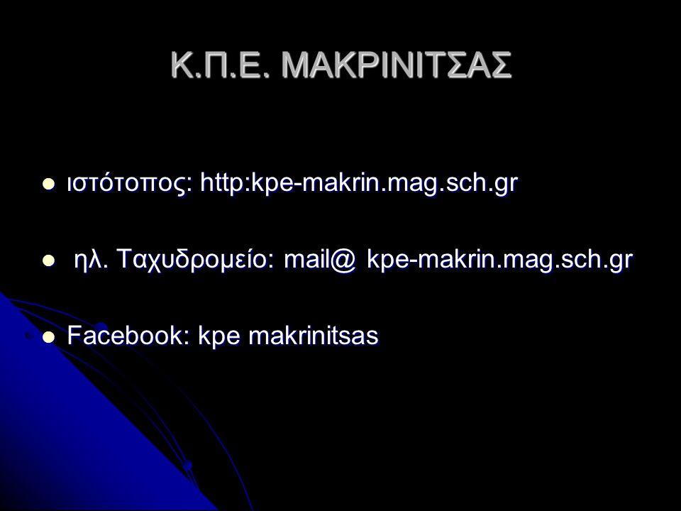 Κ.Π.Ε. ΜΑΚΡΙΝΙΤΣΑΣ  ιστότοπος: http:kpe-makrin.mag.sch.gr  ηλ. Ταχυδρομείο: mail@ kpe-makrin.mag.sch.gr  Facebook: kpe makrinitsas