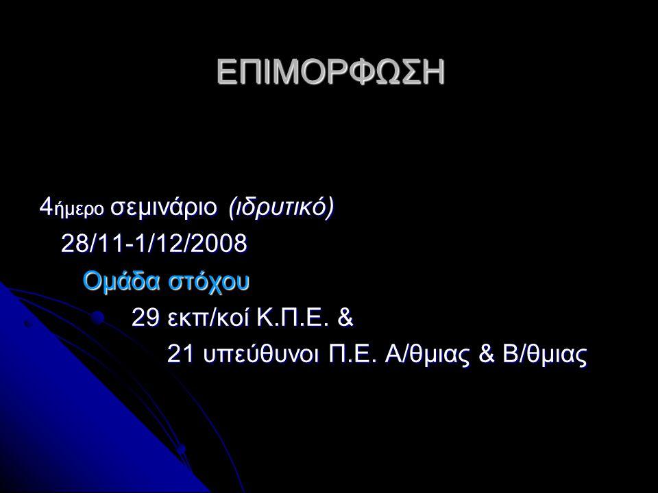 ΕΠΙΜΟΡΦΩΣΗ 4 ήμερο σεμινάριο (ιδρυτικό) 28/11-1/12/2008 28/11-1/12/2008 Ομάδα στόχου Ομάδα στόχου 29 εκπ/κοί Κ.Π.Ε. & 29 εκπ/κοί Κ.Π.Ε. & 21 υπεύθυνοι