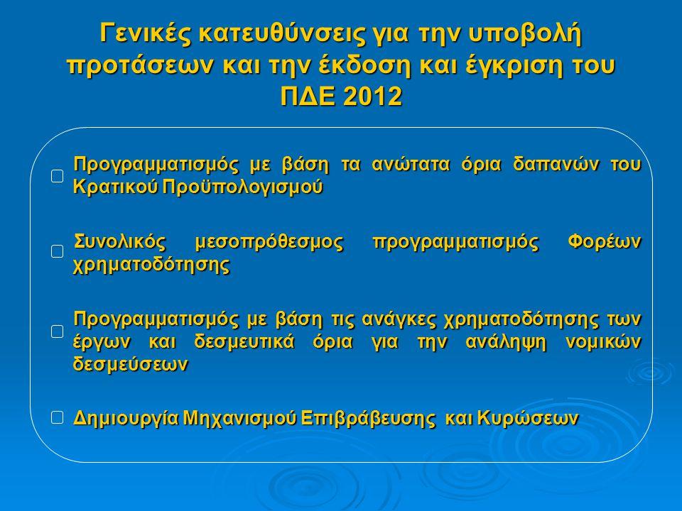 Γενικές κατευθύνσεις για την υποβολή προτάσεων και την έκδοση και έγκριση του ΠΔΕ 2012 Προγραμματισμός με βάση τα ανώτατα όρια δαπανών του Κρατικού Προϋπολογισμού Προγραμματισμός με βάση τα ανώτατα όρια δαπανών του Κρατικού Προϋπολογισμού Συνολικός μεσοπρόθεσμος προγραμματισμός Φορέων χρηματοδότησης Συνολικός μεσοπρόθεσμος προγραμματισμός Φορέων χρηματοδότησης Προγραμματισμός με βάση τις ανάγκες χρηματοδότησης των έργων και δεσμευτικά όρια για την ανάληψη νομικών δεσμεύσεων Προγραμματισμός με βάση τις ανάγκες χρηματοδότησης των έργων και δεσμευτικά όρια για την ανάληψη νομικών δεσμεύσεων Δημιουργία Μηχανισμού Επιβράβευσης και Κυρώσεων Δημιουργία Μηχανισμού Επιβράβευσης και Κυρώσεων