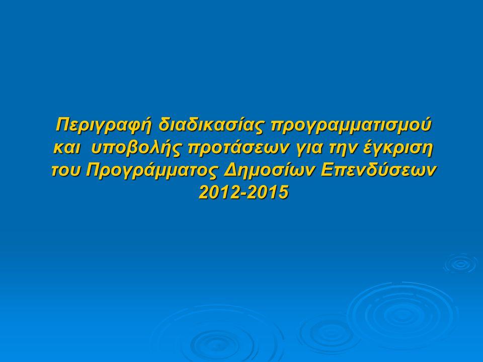Περιγραφή διαδικασίας προγραμματισμού και υποβολής προτάσεων για την έγκριση του Προγράμματος Δημοσίων Επενδύσεων 2012-2015