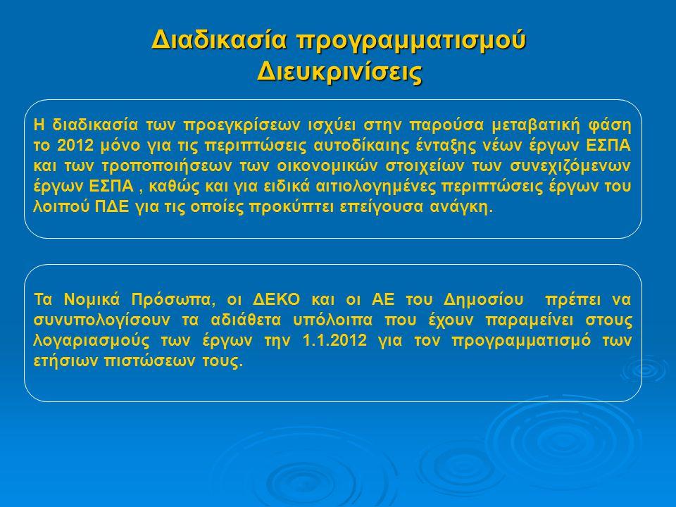 Διαδικασία προγραμματισμού Διευκρινίσεις Η διαδικασία των προεγκρίσεων ισχύει στην παρούσα μεταβατική φάση το 2012 μόνο για τις περιπτώσεις αυτοδίκαιης ένταξης νέων έργων ΕΣΠΑ και των τροποποιήσεων των οικονομικών στοιχείων των συνεχιζόμενων έργων ΕΣΠΑ, καθώς και για ειδικά αιτιολογημένες περιπτώσεις έργων του λοιπού ΠΔΕ για τις οποίες προκύπτει επείγουσα ανάγκη.
