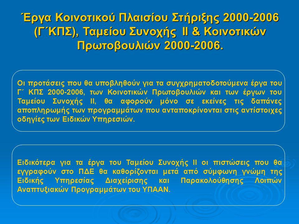 Έργα Κοινοτικού Πλαισίου Στήριξης 2000-2006 (Γ΄ΚΠΣ), Ταμείου Συνοχής ΙΙ & Κοινοτικών Πρωτοβουλιών 2000-2006.