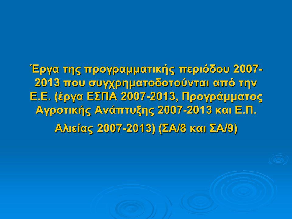 Έργα της προγραμματικής περιόδου 2007- 2013 που συγχρηματοδοτούνται από την Ε.Ε.