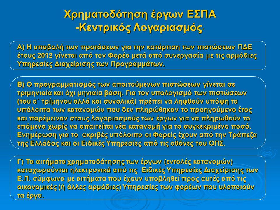 Χρηματοδότηση έργων ΕΣΠΑ -Κεντρικός Λογαριασμός -Κεντρικός Λογαριασμός - Α) Η υποβολή των προτάσεων για την κατάρτιση των πιστώσεων ΠΔΕ έτους 2012 γίνεται από τον Φορέα μετά από συνεργασία με τις αρμόδιες Υπηρεσίες Διαχείρισης των Προγραμμάτων.