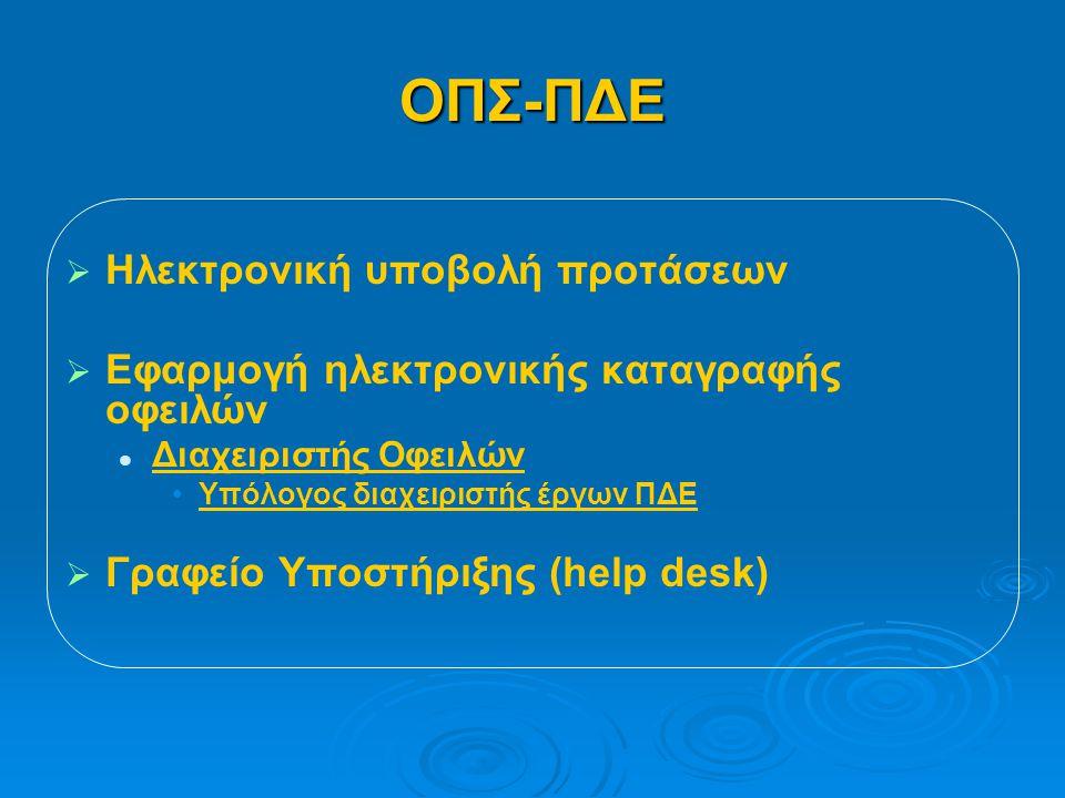 ΟΠΣ-ΠΔΕ   Ηλεκτρονική υποβολή προτάσεων   Εφαρμογή ηλεκτρονικής καταγραφής οφειλών   Διαχειριστής Οφειλών • •Υπόλογος διαχειριστής έργων ΠΔΕ   Γραφείο Υποστήριξης (help desk)