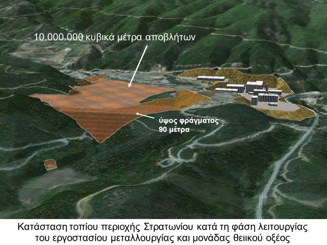 Κατάσταση τοπίου περιοχής Στρατωνίου κατά τη φάση λειτουργίας του εργοστασίου μεταλλουργίας και μονάδας θειικού οξέος 10.000.000 κυβικά μέτρα αποβλήτων ύψος φράγματος 90 μέτρα