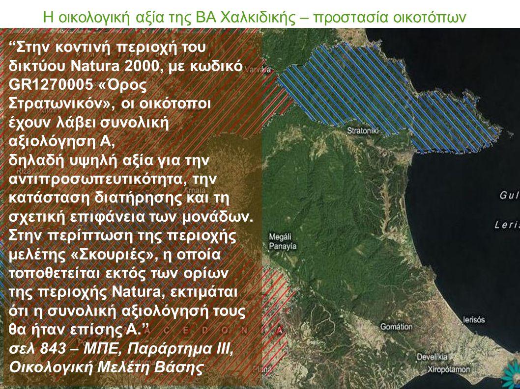 Η οικολογική αξία της ΒΑ Χαλκιδικής – προστασία οικοτόπων Στην κοντινή περιοχή του δικτύου Natura 2000, με κωδικό GR1270005 «Όρος Στρατωνικόν», οι οικότοποι έχουν λάβει συνολική αξιολόγηση Α, δηλαδή υψηλή αξία για την αντιπροσωπευτικότητα, την κατάσταση διατήρησης και τη σχετική επιφάνεια των μονάδων.