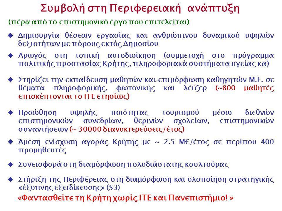  Αρωγός στη τοπική αυτοδιοίκηση (συμμετοχή στο πρόγραμμα πολιτικής προστασίας Κρήτης, πληροφοριακά συστήματα υγείας κα) Συμβολή στη Περιφερειακή ανάπτυξη  Στηρίζει την εκπαίδευση μαθητών και επιμόρφωση καθηγητών Μ.Ε.