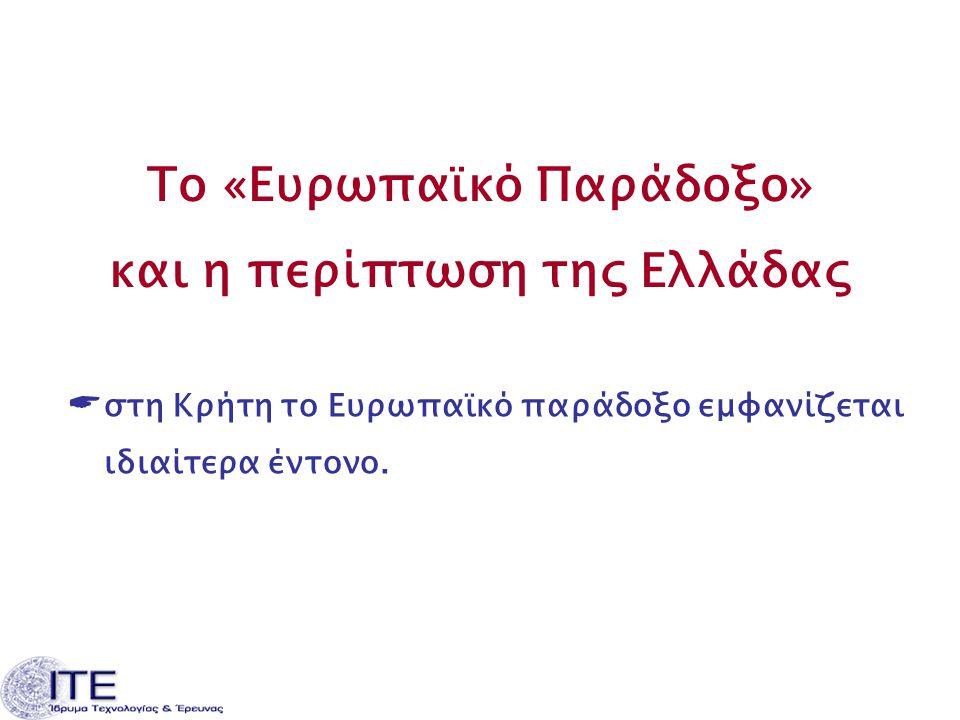 Το «Ευρωπαϊκό Παράδοξο» και η περίπτωση της Ελλάδας  στη Κρήτη το Ευρωπαϊκό παράδοξο εμφανίζεται ιδιαίτερα έντονο.