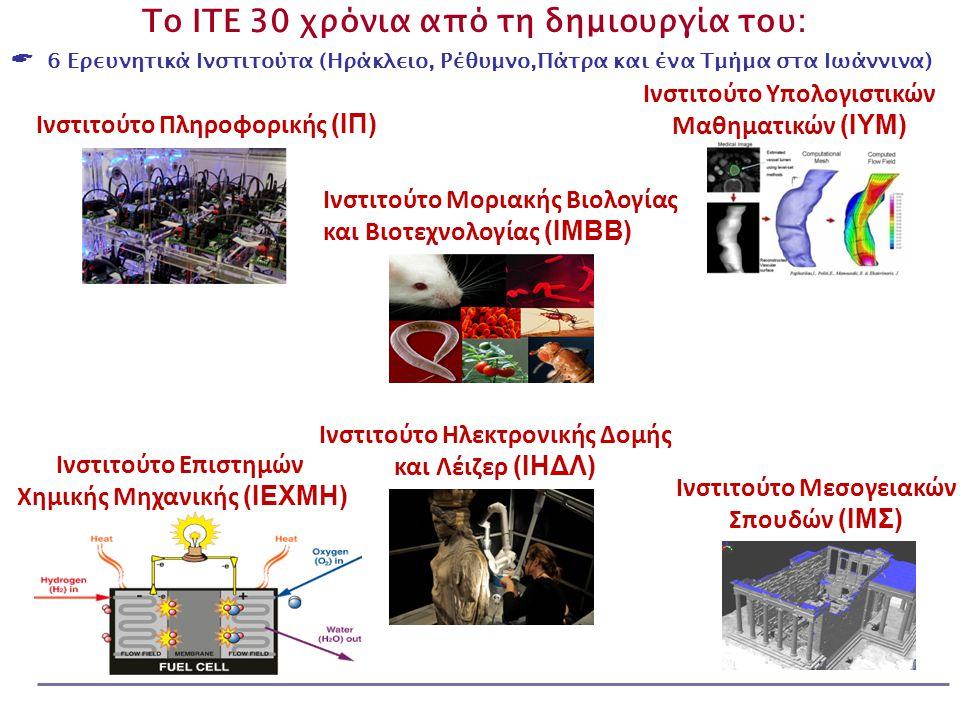 Το ΙΤΕ 30 χρόνια από τη δημιουργία του:  6 Ερευνητικά Ινστιτούτα (Ηράκλειο, Ρέθυμνο,Πάτρα και ένα Τμήμα στα Ιωάννινα) Ινστιτούτο Ηλεκτρονικής Δομής και Λέιζερ (ΙΗΔΛ) Ινστιτούτο Υπολογιστικών Μαθηματικών (ΙΥΜ) Ινστιτούτο Πληροφορικής (ΙΠ) Ινστιτούτο Επιστημών Χημικής Μηχανικής (ΙΕΧΜΗ) Ινστιτούτο Μεσογειακών Σπουδών (ΙΜΣ) Ινστιτούτο Μοριακής Βιολογίας και Βιοτεχνολογίας (ΙΜΒΒ)