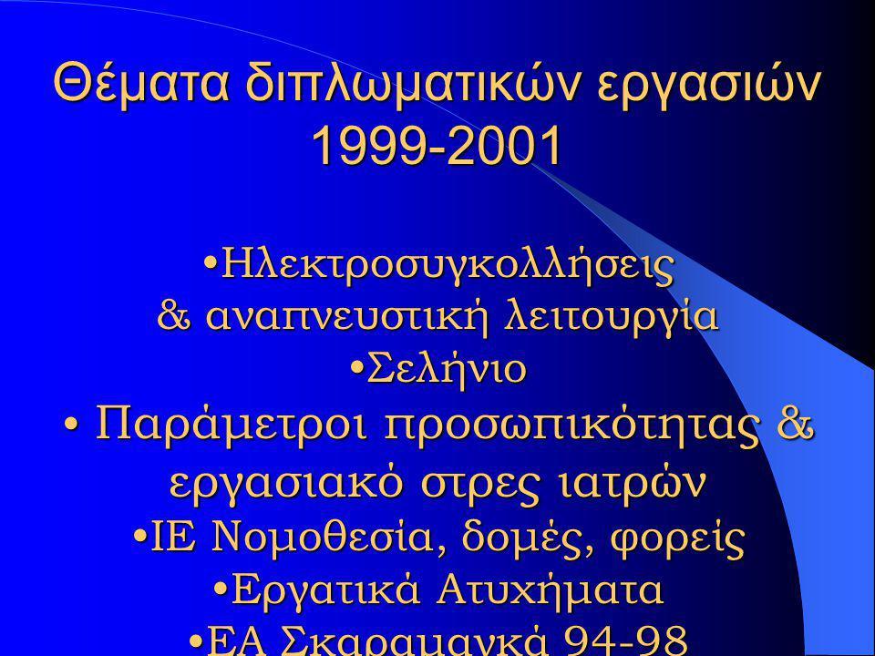 Ειδικευόμενοι Ιατροί Εργασίας Ακαδημαϊκό έτος ΆνδρεςΓυναίκεςΣύνολο 1998-99729 1999-00224 2000-01314 2001-02257 2002-03415 σύνολο181129