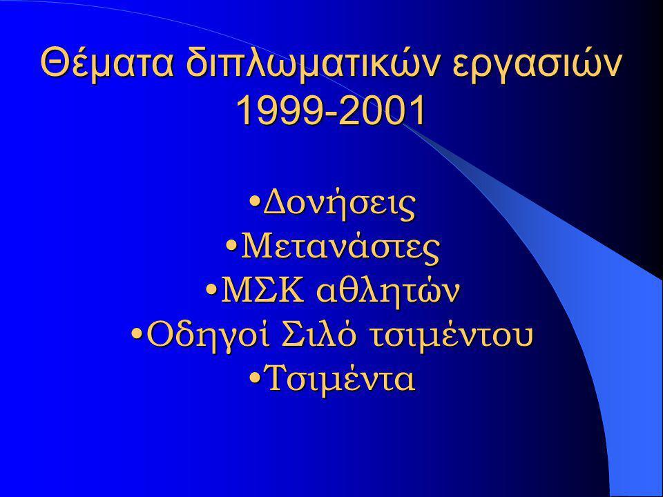 Θέματα διπλωματικών εργασιών 1999-2001 •Ενώσεις Hg •Φυτοφάρμακα •Αντιμετώπιση εργαζ με βρογχ άσθμα •Ψυχολογία εργασίας •Επαγγελματική έκθεση σε οργανο