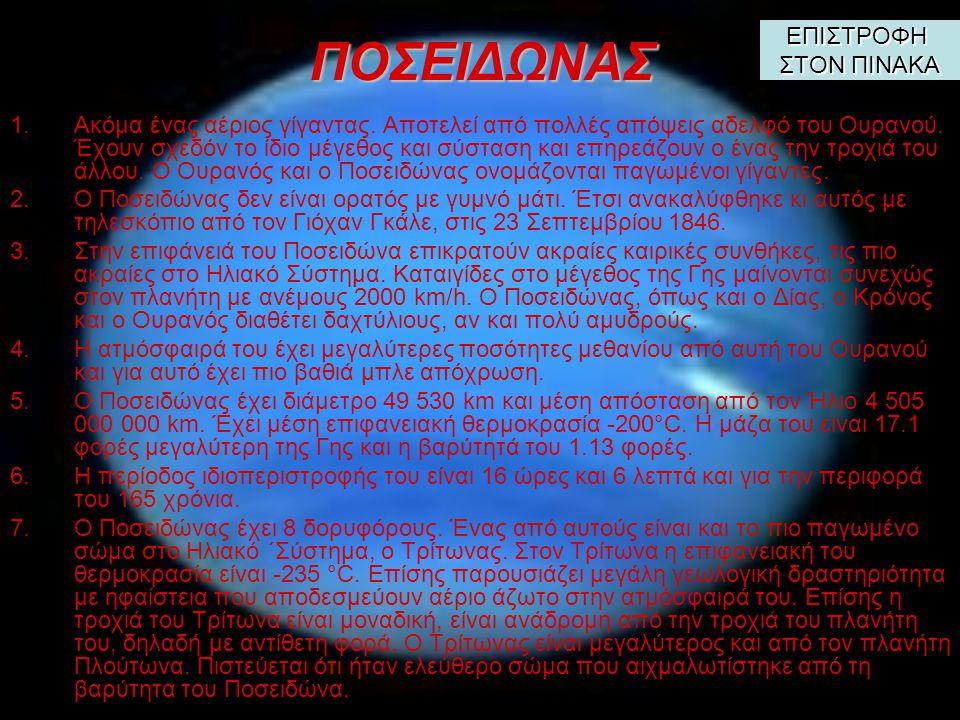 ΟΥΡΑΝΟΣ 1.Ο Ουρανός ήταν ο πρώτος πλανήτης που ανακαλύφθηκε με τηλεσκόπιο, καθώς οι άλλοι πλανήτες ήταν γνωστοί από την αρχαιότητα.