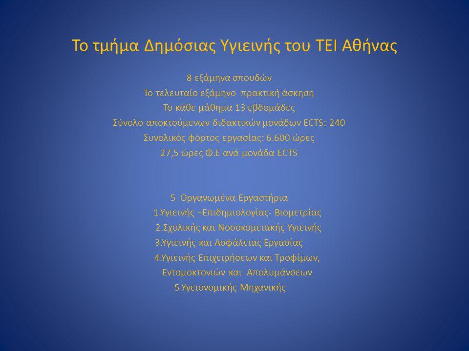 Το τμήμα Δημόσιας Υγιεινής του ΤΕΙ Αθήνας 8 εξάμηνα σπουδών Το τελευταίο εξάμηνο πρακτική άσκηση Το κάθε μάθημα 13 εβδομάδες Σύνολο αποκτούμενων διδακ
