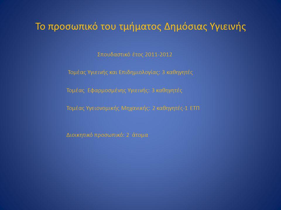 Το προσωπικό του τμήματος Δημόσιας Υγιεινής Σπουδαστικό έτος 2011-2012 Τομέας Υγιεινής και Επιδημιολογίας: 3 καθηγητές Τομέας Εφαρμοσμένης Υγιεινής: 3