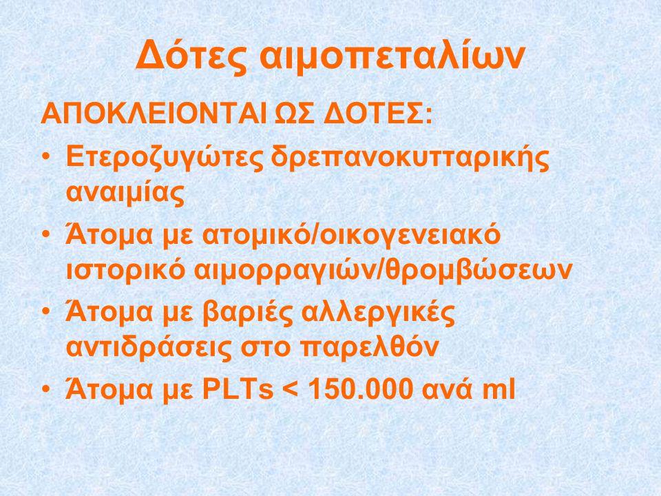 Δότες αιμοπεταλίων ΑΠΟΚΛΕΙΟΝΤΑΙ ΩΣ ΔΟΤΕΣ: •Ετεροζυγώτες δρεπανοκυτταρικής αναιμίας •Άτομα με ατομικό/οικογενειακό ιστορικό αιμορραγιών/θρομβώσεων •Άτομα με βαριές αλλεργικές αντιδράσεις στο παρελθόν •Άτομα με PLTs < 150.000 ανά ml