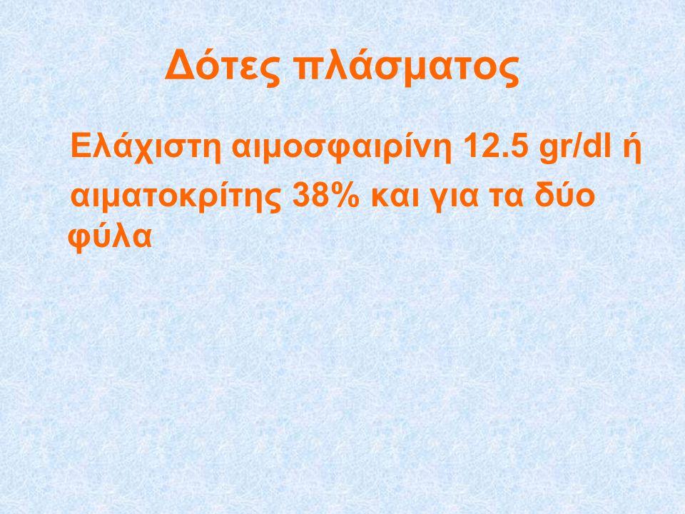 Δότες πλάσματος Ελάχιστη αιμοσφαιρίνη 12.5 gr/dl ή αιματοκρίτης 38% και για τα δύο φύλα