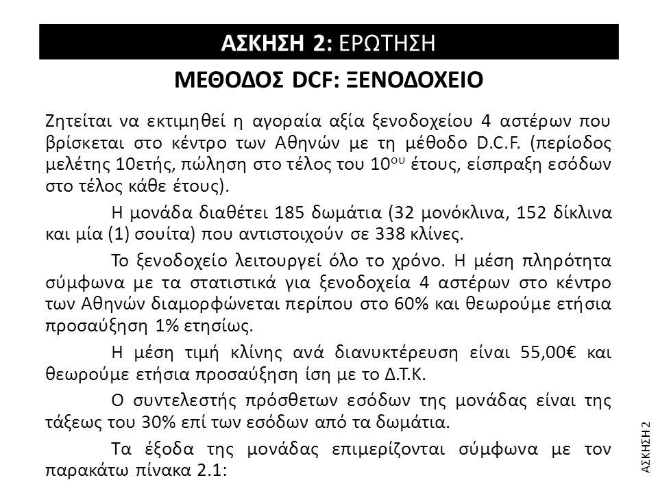 ΜΕΘΟΔΟΣ DCF: ΞΕΝΟΔΟΧΕΙΟ Ζητείται να εκτιμηθεί η αγοραία αξία ξενοδοχείου 4 αστέρων που βρίσκεται στο κέντρο των Αθηνών με τη μέθοδο D.C.F. (περίοδος μ