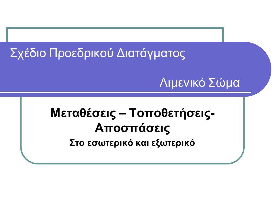 Βασική Αρχή o Το Προσωπικό του Λιμενικού Σώματος ( εφεξής Λ.Σ.) τοποθετείται και μετατίθεται μόνο σε οργανικές θέσεις του βαθμού του που είναι κενές.