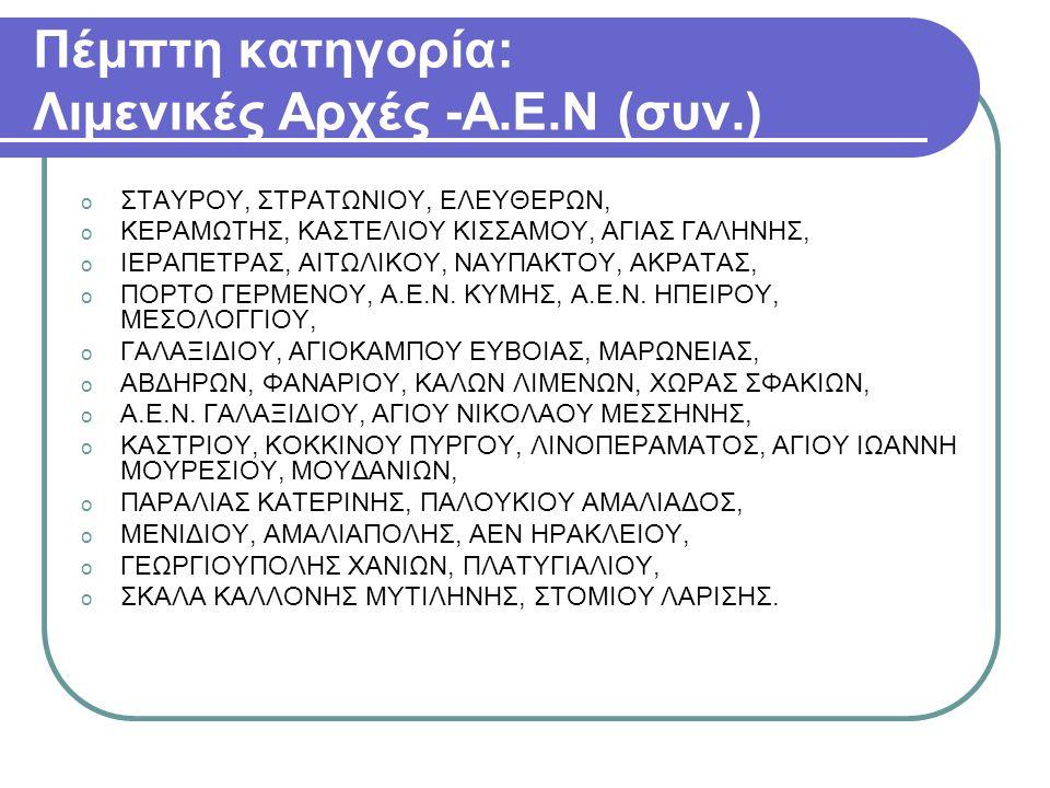 Έκτη κατηγορία: o Η Κεντρική Υπηρεσία του YENΑΝΠ o Οι 1η, 2η, 4η και 5η ΠΕΔΙΛΣ, οι Ακαδημίες Εμπορικού Ναυτικού Κρήτης και Μακεδονίας, η Σχολή Σωστικών - Πυροσβεστικών Μέσων Μακεδονίας, ΥΕΜ και Ε/Π και ΕΒ/Λ.Σ.