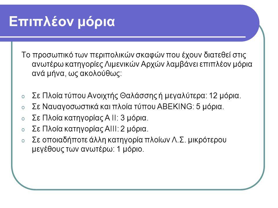 Επιπλέον μόρια (συν.) o Το προσωπικό των περιπολικών σκαφών που έχουν έδρα τις Λ.Α Αλεξανδρούπολης, Σαμοθράκης, Πάτμου, Λέρου, Λήμνου, Μυτιλήνης, Χίου, Σάμου, Ικαρίας, Καλύμνου, Κω, Ρόδου, Καρπάθου, Κέρκυρας, Ηγουμενίτσας καθώς και τους υπαγόμενους σε αυτές Λιμενικούς Σταθμούς: 1 μόριο.