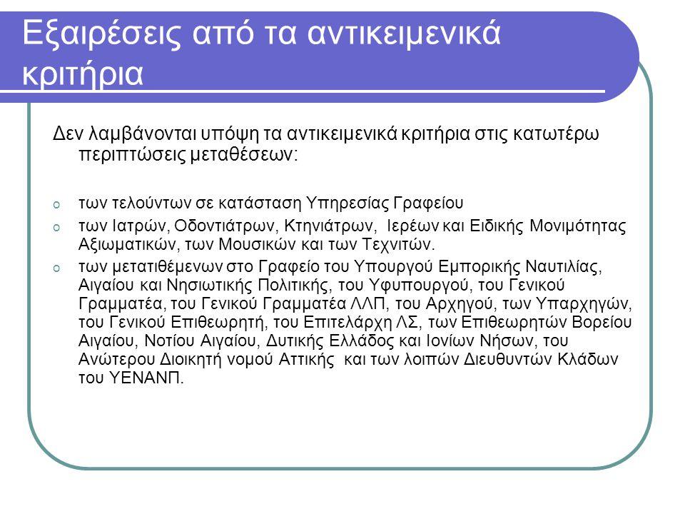 Εξαιρέσεις από τα αντικειμενικά κριτήρια (συν.) o των μετατιθέμενων στα Τμήματα Α΄, Β΄ και Δ΄ της Διεύθυνσης Προσωπικού Λ.Σ., Διεύθυνσης Ασφάλειας, Διεύθυνσης Πληροφορικής και Νέων Τεχνολογιών, σε Υπηρεσίες του Εθνικού Συστήματος Διαχείρισης και Πληροφοριών Κυκλοφορίας Πλοίων (Ε.Σ.Δ.Π.Κ.Π.) και στο Γραφείο Εσωτερικών Υποθέσεων.