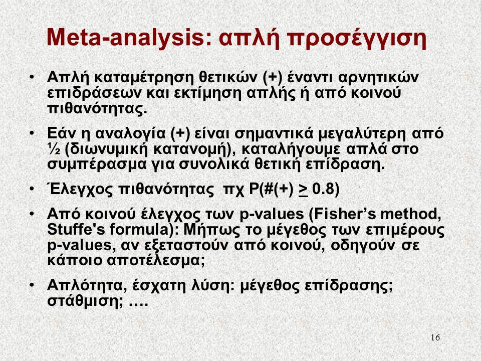 16 Meta-analysis: απλή προσέγγιση •Απλή καταμέτρηση θετικών (+) έναντι αρνητικών επιδράσεων και εκτίμηση απλής ή από κοινού πιθανότητας. •Εάν η αναλογ