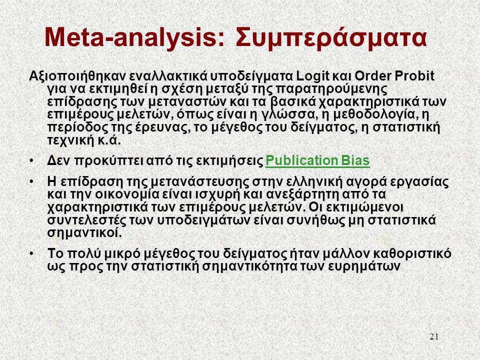 22 Sensitivity Analysis Όμοια τα συμπεράσματα της μετα-ανάλυσης ως προς τις επιμέρους οικονομετρικές και άλλες επιλογές της ανάλυσης: –Βαρύτητα μελετών ανάλογα με την ποιότητα της κάθε μελέτης (weighting) –Imputation (missing values) –Σταθερότητα ως προς τον αριθμό των μελετών –Εναλλακτικά υποδείγματα οικονομετρικής εκτίμησης (Logit, Order Probit)