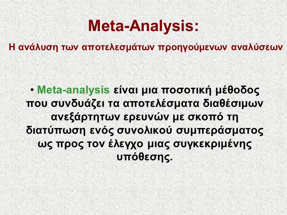 Meta-Analysis: Η ανάλυση των αποτελεσμάτων προηγούμενων αναλύσεων • Meta-analysis είναι μια ποσοτική μέθοδος που συνδυάζει τα αποτελέσματα διαθέσιμων